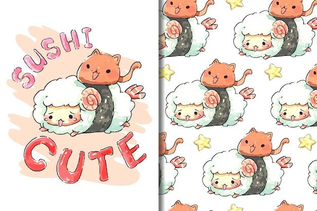Carta da parati e cartone animato di sushi di pecora