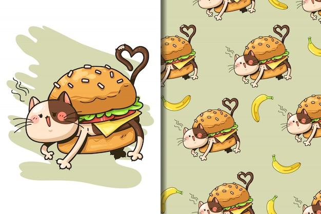Carta da parati e fumetto senza cuciture dell'hamburger del gatto del modello Vettore Premium