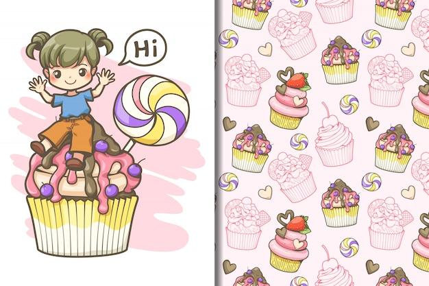 Wallpaper e seamless pattern ragazza bambino e grande cupcake con caramelle