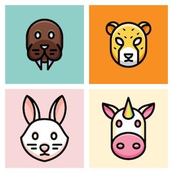 Tricheco, ghepardo, coniglio e unicorno