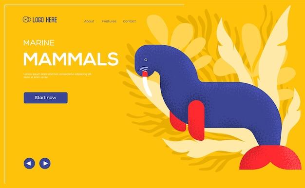 Volantino del concetto di tricheco, banner web, intestazione dell'interfaccia utente, entra nel sito. .