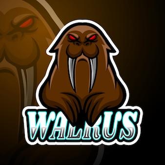 Design della mascotte logo walrus esport