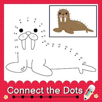 Il puzzle per bambini tricheco collega il foglio di lavoro dei punti per i bambini che contano i numeri da 1 a 20