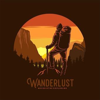 Illustrazione grafica di wanderlust adventure