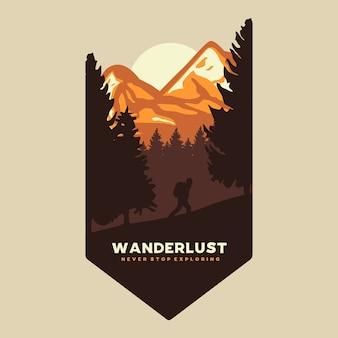 Wanderlust exploring graphic illustrazione