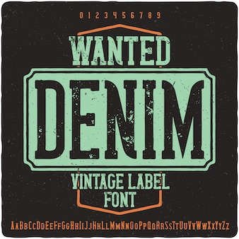 Carattere tipografico di etichetta di jeans ricercati