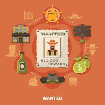 Persona ricercata, cowboy barbuto, composizione rotonda con distintivo dello sceriffo, sacchi di denaro, alcol