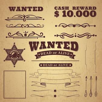 Manifesto da ricercato. wild west vintage ricerca criminale ornamenti, bordi e nastri, cornici ed elementi di scorrimento in stile retrò su sfondo distintivo, illustrazione occidentale di vettore per il design e l'arredamento