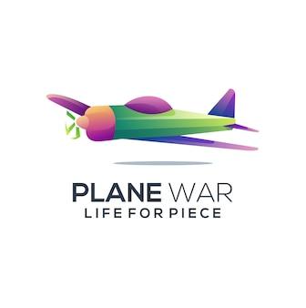 Illustrazione variopinta astratta di gradiente di logo dell'aereo di guerra