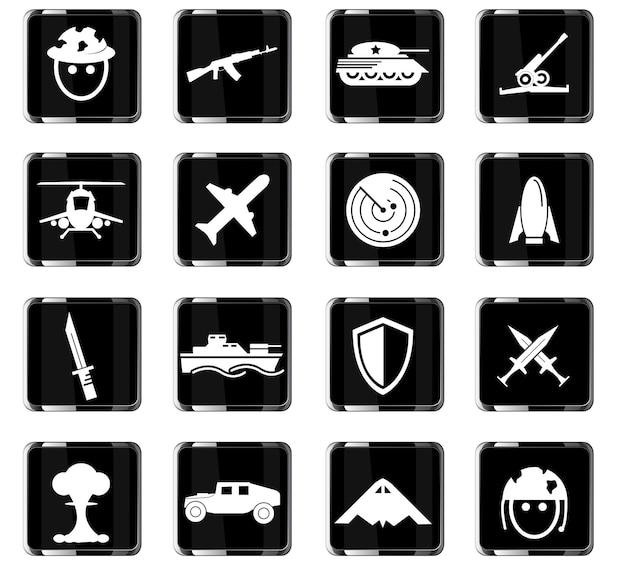 Simboli di guerra icone vettoriali per il design dell'interfaccia utente