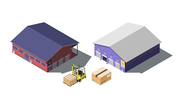 Set isometrico per la costruzione del magazzino con carrello elevatore e scatole di cartone