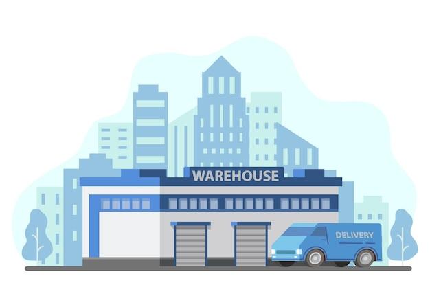 Camion di consegna di stoccaggio di edificio di magazzino. grattacieli dell'orizzonte della città. automobile del furgone del carico.