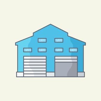 Illustrazione vettoriale della costruzione del magazzino