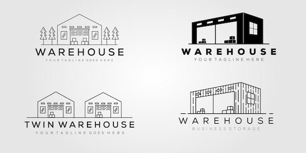 Progettazione dell'illustrazione di vettore del modello di logo della raccolta del magazzino