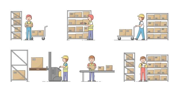 Concetto di magazzino. insieme di lavoratori al lavoro in magazzino. i personaggi smistano, imballano e spediscono il carico utilizzando attrezzature magazzino con scatole su rack.
