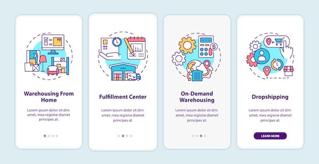 Schermata della pagina dell'app mobile per l'onboarding del servizio clienti del magazzino con illustrazioni di concetti