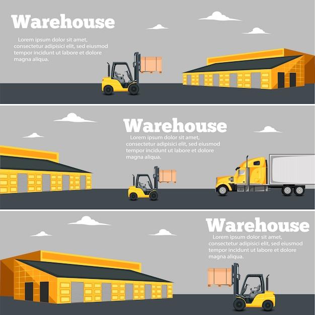 Volantino magazzino impostato con illustrazione vettoriale carrello elevatore a forcale.