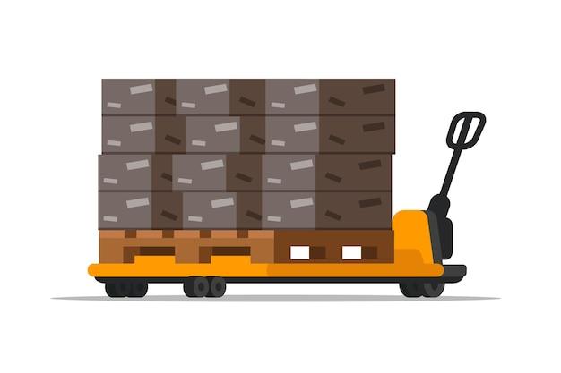 Carrello elevatore da magazzino con scatole, caricatore meccanico giallo