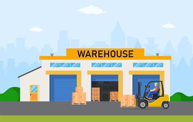 Industria del magazzino con edifici di stoccaggio, carrello elevatore e scaffale con scatole