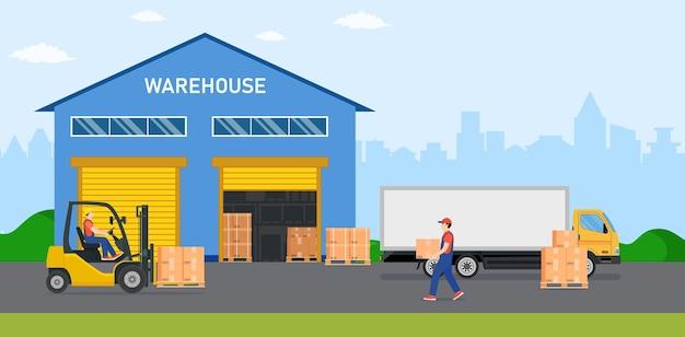 Industria di magazzino con edifici di stoccaggio