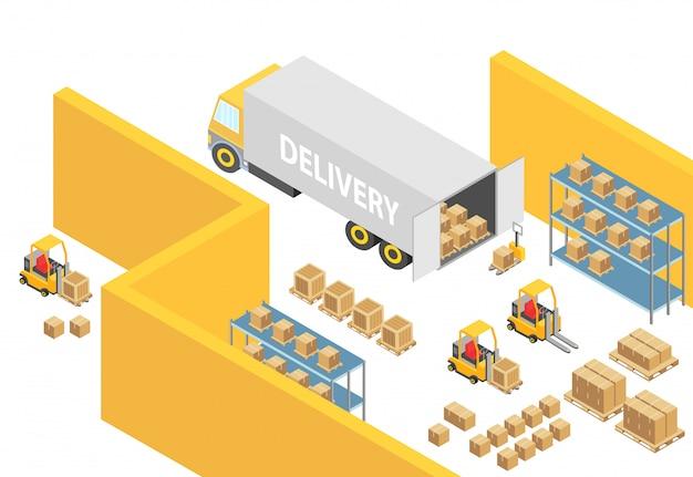 Illustrazione isometrica della mappa interna del magazzino 3d del magazzino con veicoli di trasporto e consegna logistici. carrelli elevatori, persone e scatole di consegna. modello di infografica società cargo.