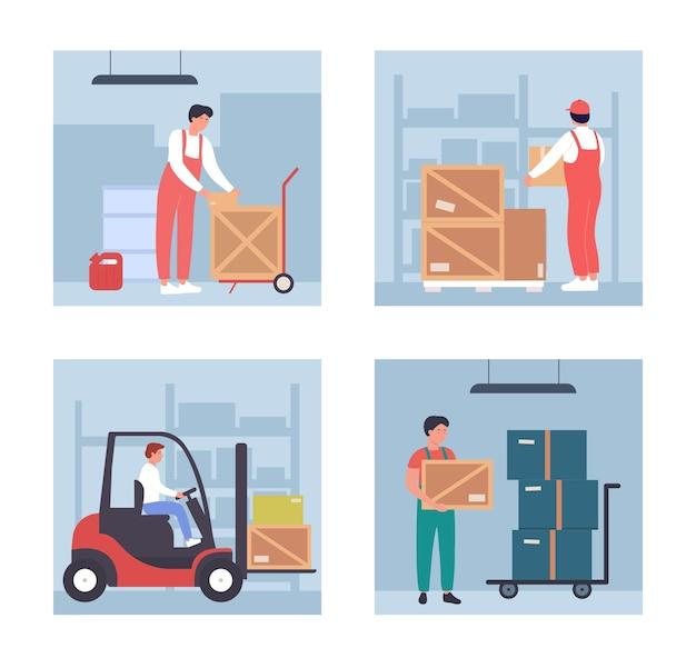 Caricatore di magazzino con persone che lavorano nel magazzino di stoccaggio all'ingrosso, processo di immagazzinamento