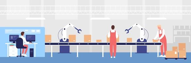 Illustrazione del trasportatore di carico del magazzino. la gente dell'operaio del fumetto lavora, carica le caselle di linea con l'aiuto dell'attrezzatura del braccio robotico, il carattere dell'operatore di stoccaggio che controlla lo sfondo del processo di stoccaggio