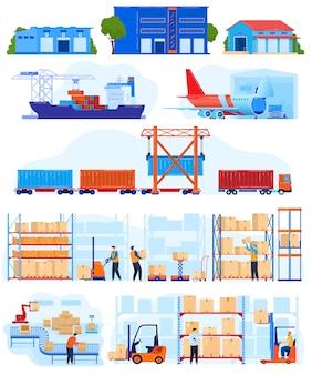 Insieme dell'illustrazione di vettore di servizio logistico del magazzino.