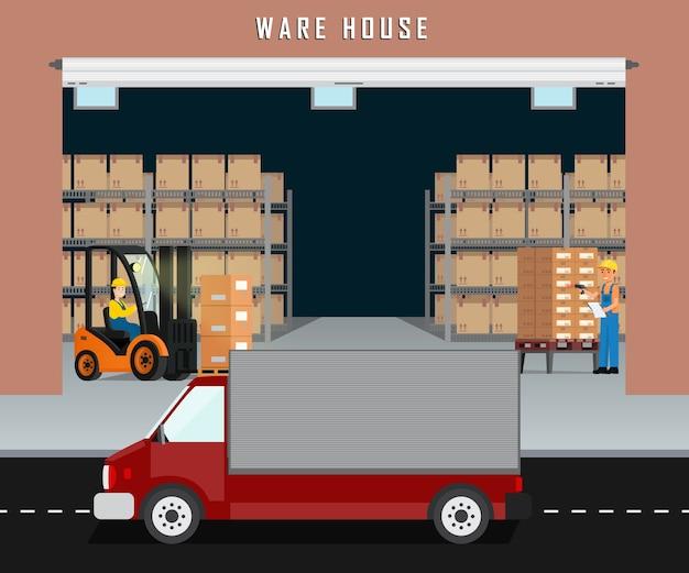 Magazzino logistico e operaio