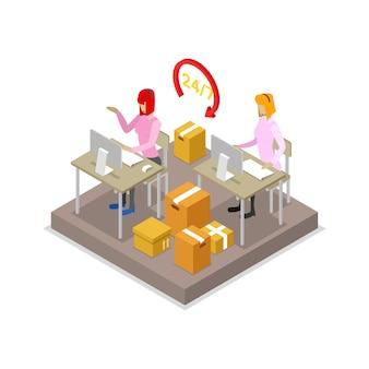 Illustrazione isometrica 3d di logistica del magazzino