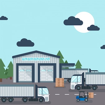 Magazzino fuori dal trasporto e dallo stoccaggio del prodotto industriale, illustrazione. carrello elevatore funzionante con scatola di cartone di consegna