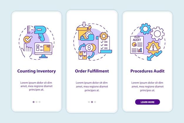 Procedure di magazzino per l'onboarding della schermata della pagina dell'app mobile con illustrazioni di concetti