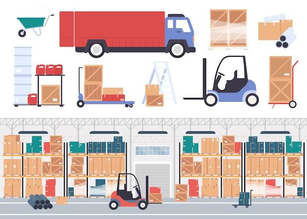 Illustrazione di magazzino. interno piano del magazzino della società di stoccaggio del fumetto con le scatole di merci del deposito sugli scaffali del pallet, sull'inventario delle azione di imballaggio e sul camion del corriere isolato su bianco