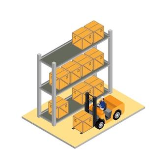 Magazzino di stoccaggio e distribuzione merci con carrello elevatore