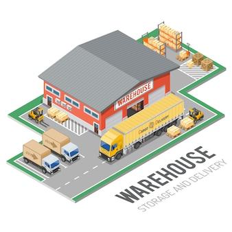 Concetto isometrico di magazzino, stoccaggio, logistica e consegna con icone di magazzino, camion, carrello elevatore. illustrazione vettoriale isolato