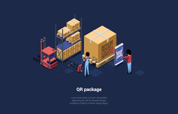 Magazzino con grandi scatole, pacchetto codice qr.