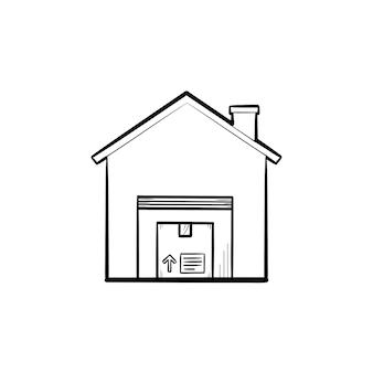 Magazzino con icona di doodle di contorno disegnato a mano pacchetto. deposito, logistica, trasporto, negozio, concetto di proprietà