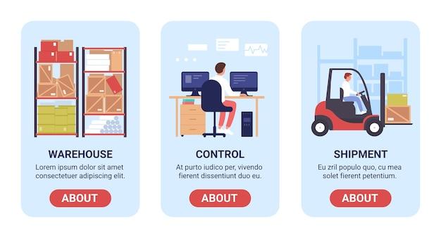 Vettore di lavoro di magazzino set di schermate a bordo per la pagina dell'app mobile