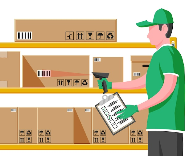 Operaio di magazzino che esegue la scansione del codice a barre su una scatola di cartone