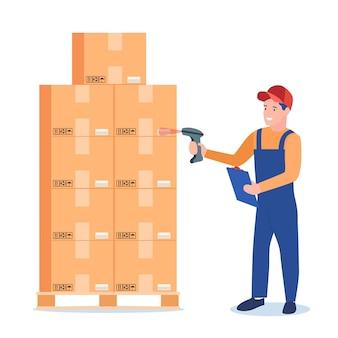 Operaio di magazzino che esegue la scansione del codice a barre sulla scatola di cartone.