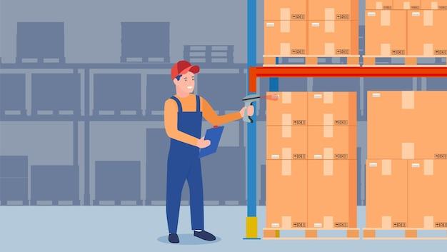 Codice a barre di scansione dell'operaio del magazzino sulla scatola di cartone.