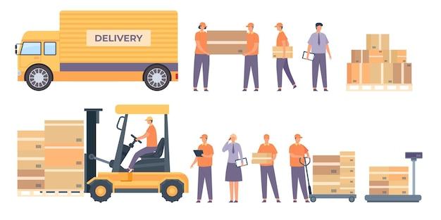 Magazzinieri e attrezzature. fattorino piatto con pacchi, camion, pallet con scatole e addetto al servizio. vettore di industria logistica. operaio con scatola in magazzino, illustrazione di stoccaggio del magazzino