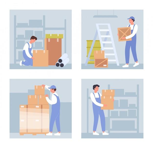 Illustrazioni di magazzinieri. persone del personale di magazzino del fumetto che tengono scatole, impilare scatole e pacchi in pallet, lavorando su imballaggi in magazzino all'ingrosso su bianco