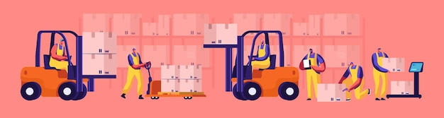 Magazzinieri che caricano, impilano merci con sollevatori manuali elettrici e carrello elevatore. pesare il carico su bilance da pavimento. logistica industriale e merchandising business cartoon flat vector illustration