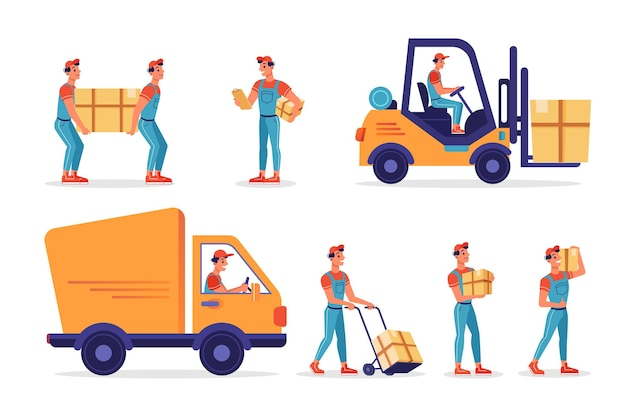 Magazzinieri con scatole di pacchi consegna e spedizione vettore icone isolate piatte logistica e