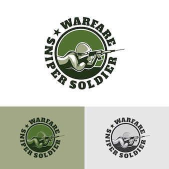 Warfare sniper soldier logo template design