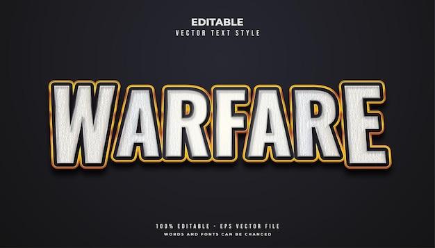 Stile di testo warfare in bianco e oro con effetto texture