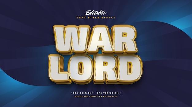 Testo del signore della guerra in bianco e oro con effetto rilievo 3d. effetto stile testo modificabile