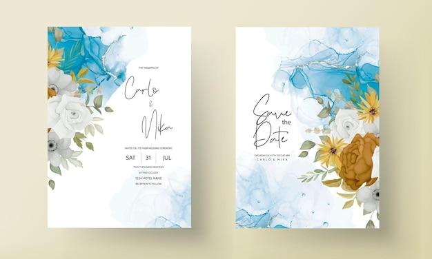 Caldo biglietto d'invito per matrimonio con fiori autunnali
