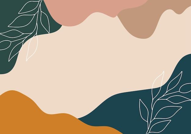 Sfondo tavolozza di colori caldi con foglie disegnate a mano
